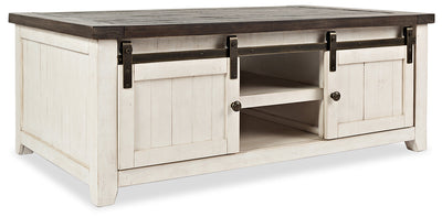 Madison Barn Door Coffee Table – White - {Rustic}, {Modern}, {Contemporary} style Coffee Table in White {Reclaimed Wood}