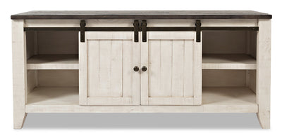 "Madison 60"" Barn Door TV Stand – White - Rustic, Modern, Contemporary style TV Stand in White Reclaimed Wood"