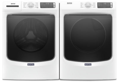 Maytag Front-Load 5.4 Cu. Ft. Washer with Extra Power and 7.3 Cu. Ft. Gas Dryer – White|Laveuse frontale 5,2 pi3 avec Extra Power et sécheuse gaz 7,3 pi³ Maytag - blanches|MAFL563G