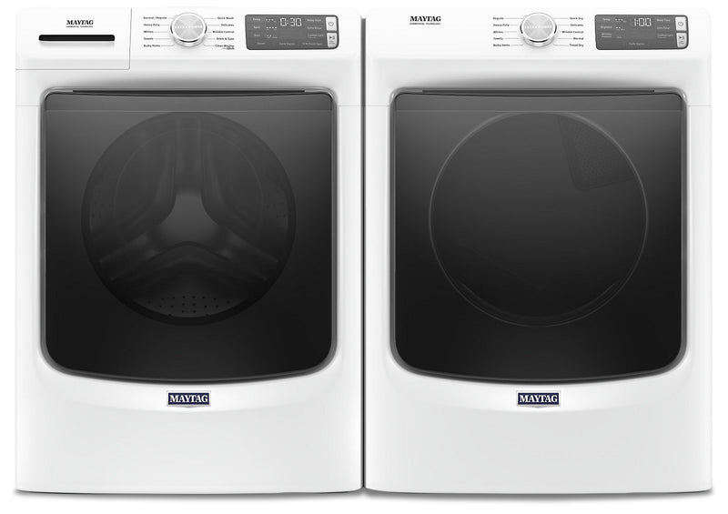 Maytag Front-Load 5.4 Cu. Ft. Washer with Extra Power and 7.3 Cu. Ft. Gas Dryer – White | Laveuse frontale 5,2 pi3 avec Extra Power et sécheuse gaz 7,3 pi³ Maytag - blanches