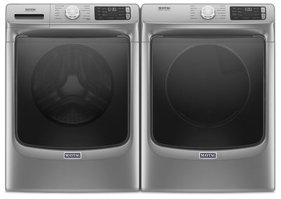 Maytag Front-Load 5.5 Cu. Ft. Washer with Extra Power and 7.3 Cu. Ft. Gas Steam Dryer – Slate