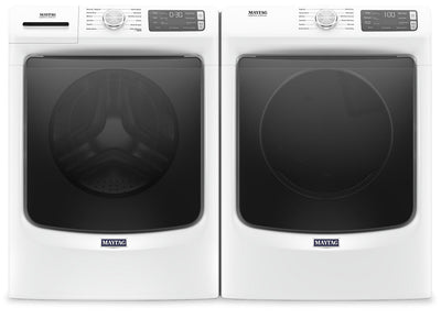 Maytag Front-Load 5.5 Cu. Ft. Washer with Extra Power and 7.3 Cu. Ft. Electric Steam Dryer – White - Laundry Set in Grey