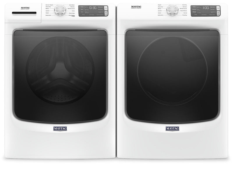 Maytag Front-Load 5.5 Cu. Ft. Washer with Extra Power and 7.3 Cu. Ft. Gas Steam Dryer – White | Laveuse frontale 5,5 pi3 avec Extra Power et sécheuse gaz vapeur 7,3 pi³ Maytag - blance