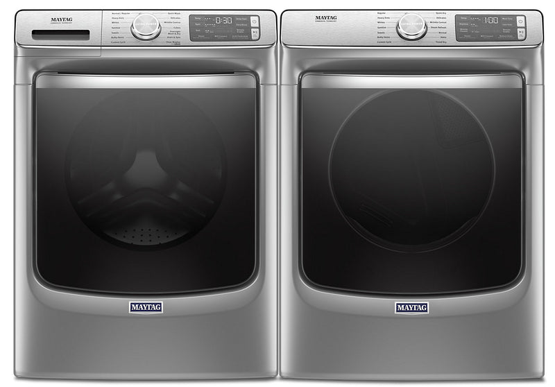 Maytag Front-Load 5.8 Cu. Ft. Smart Washer with Extra Power and 7.3 Cu. Ft. Gas Smart Dryer – Slate | Laveuse frontale 5,8 pi3 Extra Power et sécheuse gaz intelligente 7,3 pi³ Maytag - ardoise
