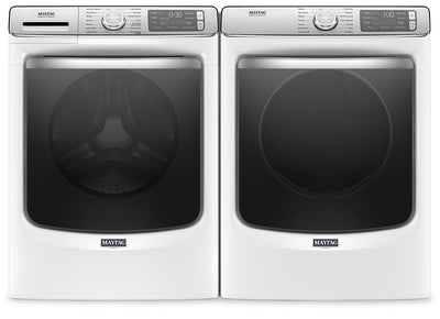 Maytag Front-Load 5.8 Cu. Ft. Smart Washer with Extra Power and 7.3 Cu. Ft. Gas Smart Dryer - White|Laveuse frontale 5,8 pi3 Extra Power et sécheuse gaz intelligente 7,3 pi³ Maytag - blance|MAFL86GW