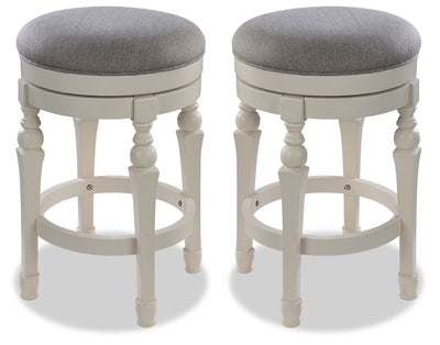 Magnolia Counter-Height Round Bar Stool, Set of 2|Tabouret rond Magnolia de hauteur comptoir, ensemble de 2|MAGNRBSP