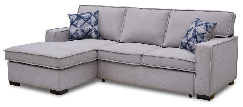 Malia 2-Piece Chenille Left-Facing Sleeper Sectional - Popstitch Dove|Sofa-lit sectionnel de gauche Malia 2 pièces en chenille - gris tourterelle couture saillante