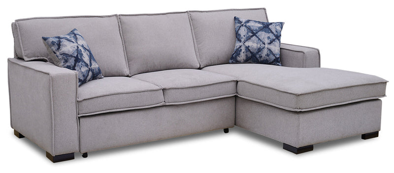 Malia 2-Piece Chenille Right-Facing Sleeper Sectional - Popstitch Dove|Sofa-lit sectionnel de droite Malia 2 pièces en chenille - gris tourterelle couture saillante