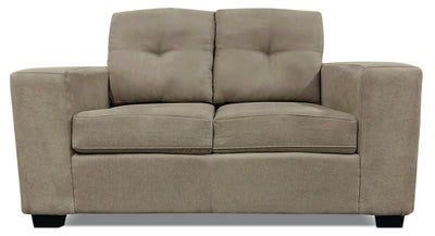 Mara Chenille Loveseat - Light Brown - Contemporary style Loveseat in Light Brown