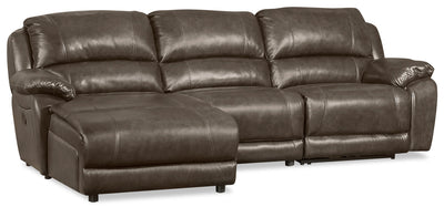 Marco 3-Piece Genuine Leather Home Theatre Sectional with Left-Facing Inclining Chaise- Grey