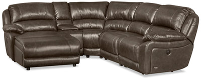 Marco 5-Piece Genuine Leather Sectional with Left-Facing Inclining Chaise - Grey