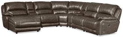 Marco 7-Piece Left-Facing Genuine Leather Sectional - Grey - {Contemporary} style Sectional in Grey {Plywood}, {Solid Woods}