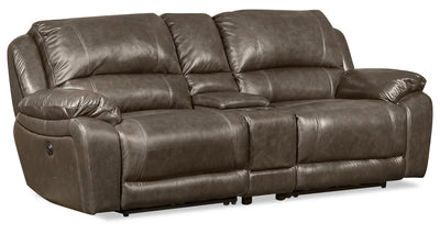 Marco 3-Piece Genuine Leather Home Theatre Sectional with 2 Power Recliners - Grey