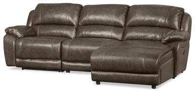 Marco 3-Piece Genuine Leather Home Theatre Sectional with Right-Facing Inclining Chaise - Grey
