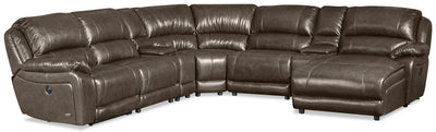 Marco 7-Piece Right-Facing Genuine Leather Sectional - Grey - {Contemporary} style Sectional in Grey {Plywood}, {Solid Woods}