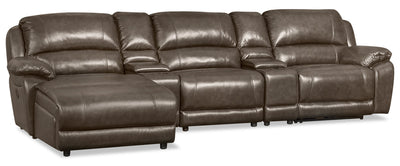 Marco 5-Piece Genuine Leather Home Theatre Sectional with Left-Facing Inclining Chaise - Grey