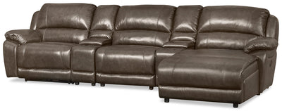 Marco 5-Piece Genuine Leather Home Theatre Sectional with Right-Facing Inclining Chaise - Grey