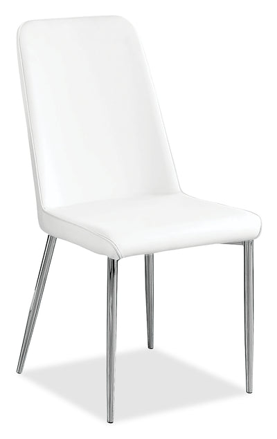 Marco Dining Chair – White - Modern style Dining Chair in White Metal and Faux Leather