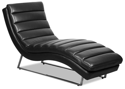 Marsha Leather-Look Fabric Chaise - Black - {Modern} style Chaise in Black {Pine}, {Plywood}