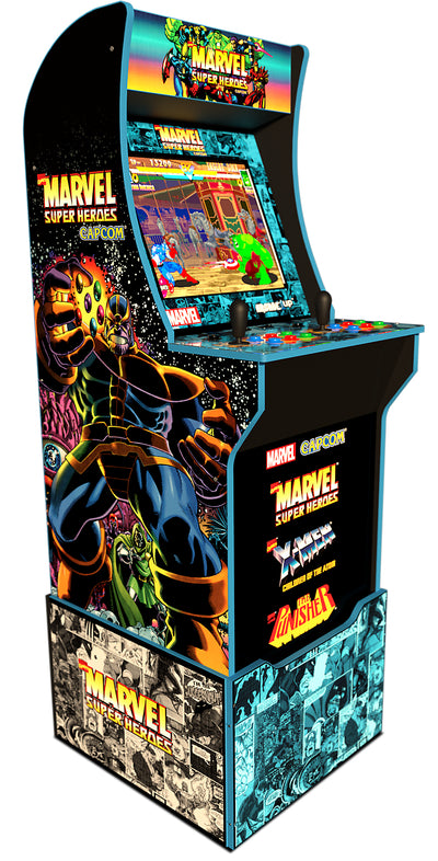 Arcade1Up Officially Licensed Marvel™  Super Heroes Arcade with Riser|Borne de jeu Arcade1Up jeu d'arcade Super Heroes sous licence officielle de MarvelMD avec plateforme
