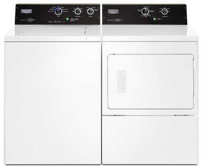 Maytag 4.0 Cu. Ft. Commercial-Grade Washer and 7.4 Cu. Ft. Commercial-Grade Dryer – White - Laundry Set in White