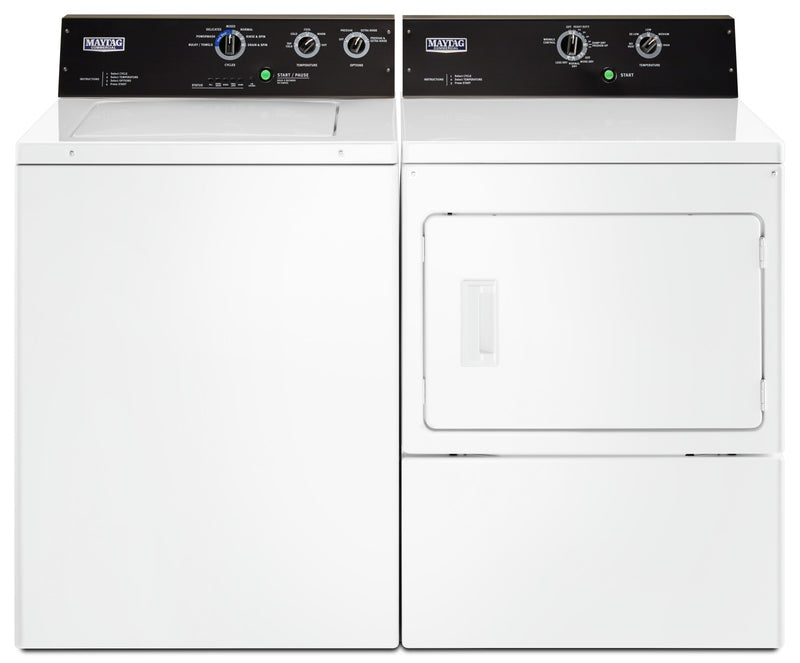 Maytag 4.0 Cu. Ft. Commercial-Grade Washer and 7.4 Cu. Ft. Commercial-Grade Dryer – White|Laveuse de 4,0 pi³ et sécheuse électrique de 7,4 pi³ Maytag BravosMC – blanches