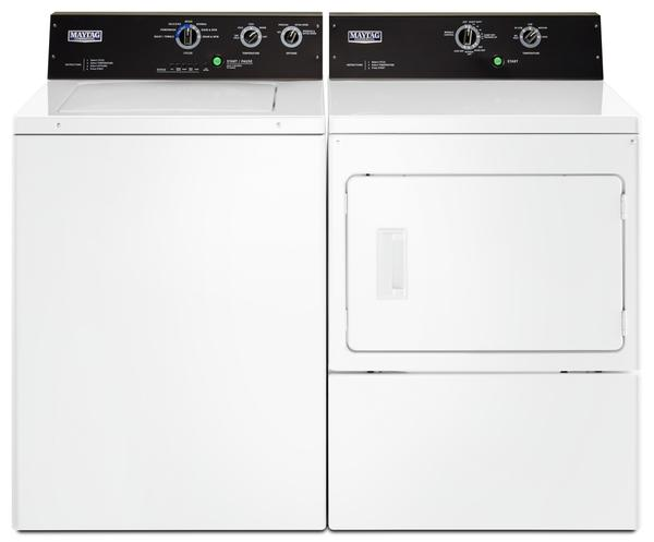 Maytag 4.0 Cu. Ft. Commercial-Grade Washer and 7.4 Cu. Ft. Commercial-Grade Gas Dryer – White|Laveuse de 4,0 pi³ et sécheuse gaz de 7,4 pi³ Maytag – blanches|MATL575G