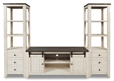 "Madison Barn-Door 3-Piece Entertainment Centre with 60"" TV Opening – White"