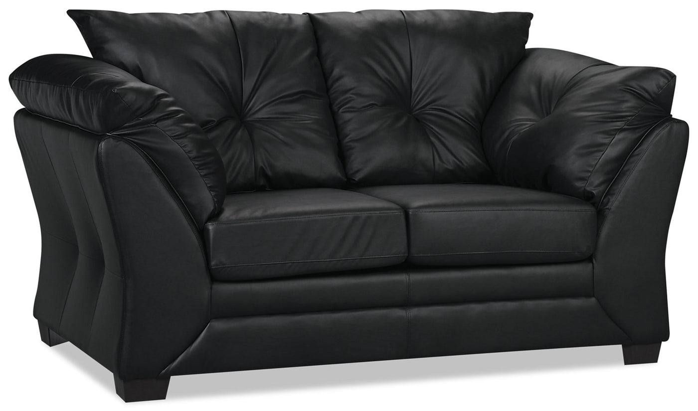 Stupendous Max Faux Leather Loveseat Black Squirreltailoven Fun Painted Chair Ideas Images Squirreltailovenorg