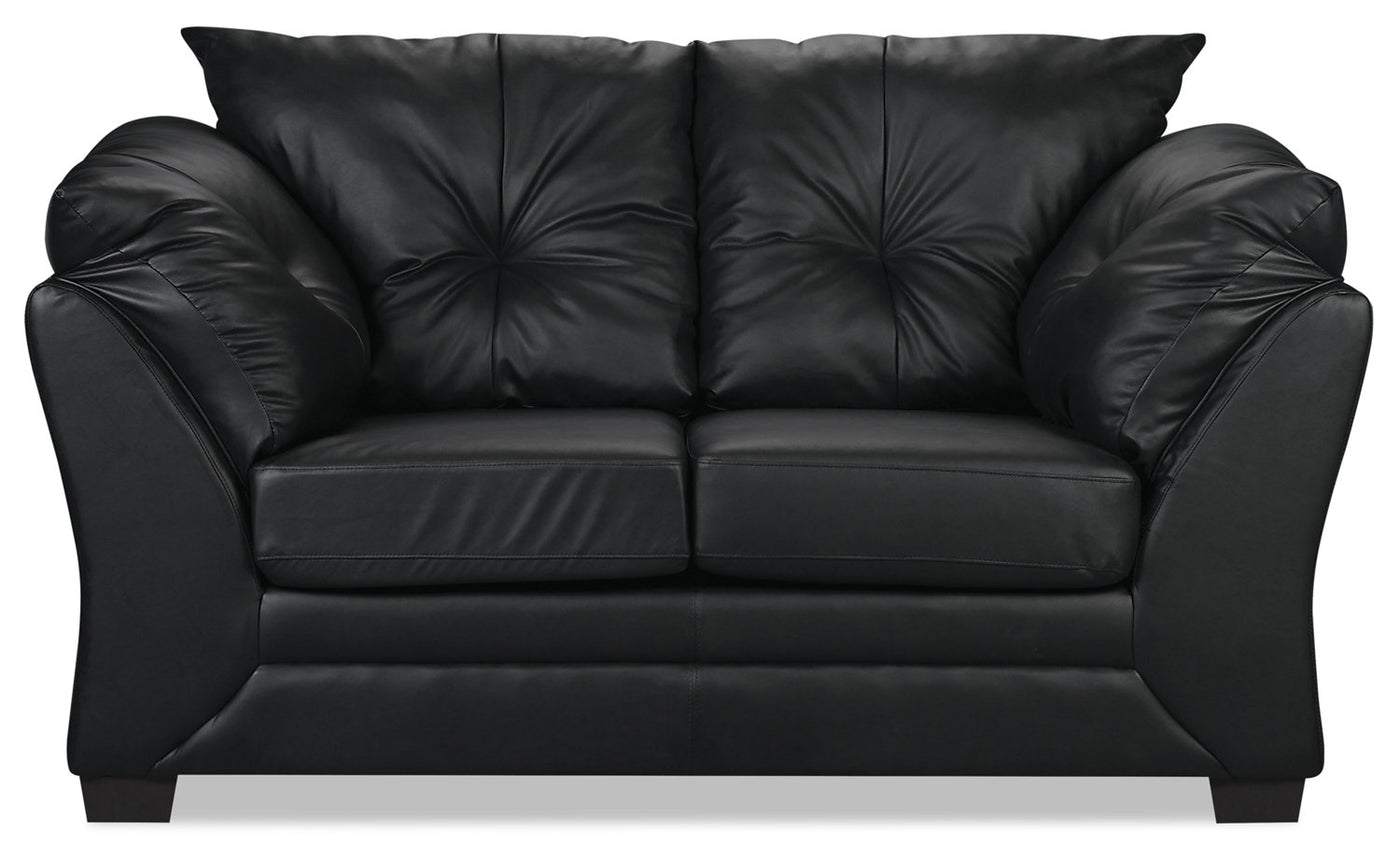 Admirable Max Faux Leather Loveseat Black Squirreltailoven Fun Painted Chair Ideas Images Squirreltailovenorg