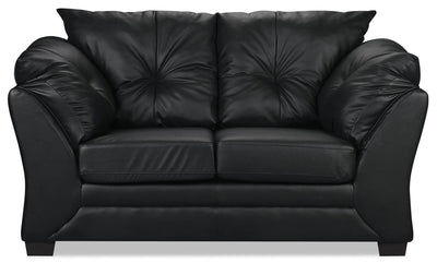 Max Faux Leather Loveseat - Black - Contemporary style Loveseat in Black