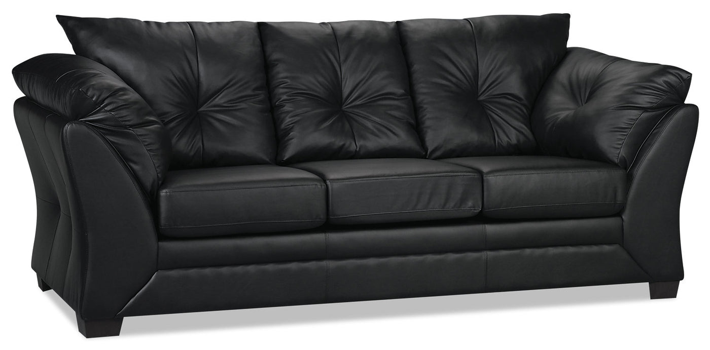 Oregon Black Leather 3+2 Seater Sofa Set