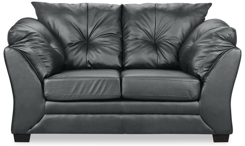 Max Faux Leather Loveseat - Grey - Contemporary style Loveseat in Grey