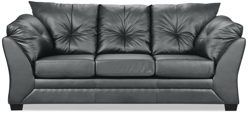 Max Faux Leather Sofa - Grey|Sofa Max en similicuir - gris|MAXGRYSF