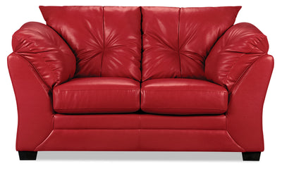Max Faux Leather Loveseat - Red - Contemporary style Loveseat in Red