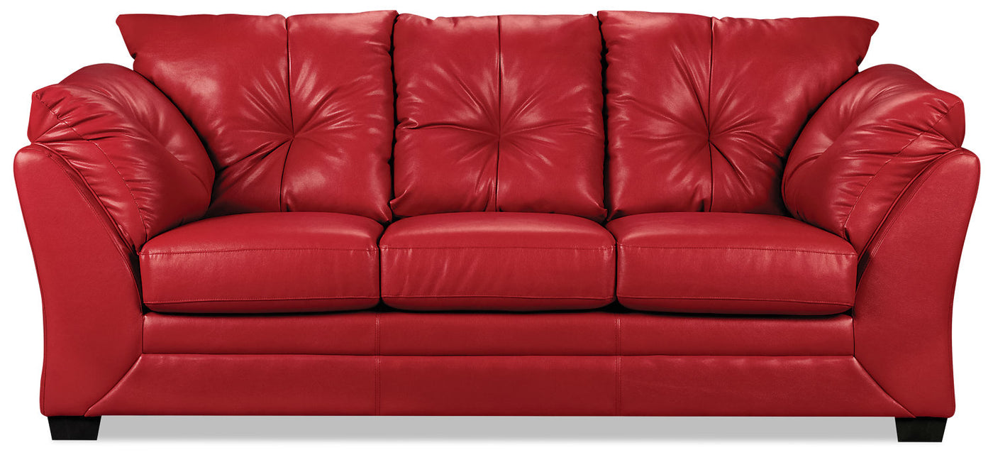 Max Faux Leather Sofa - Red