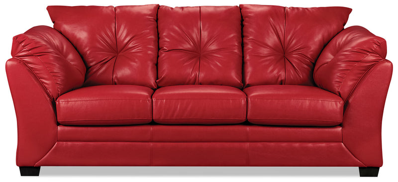 Max Faux Leather Sofa - Red - Contemporary style Sofa in Red