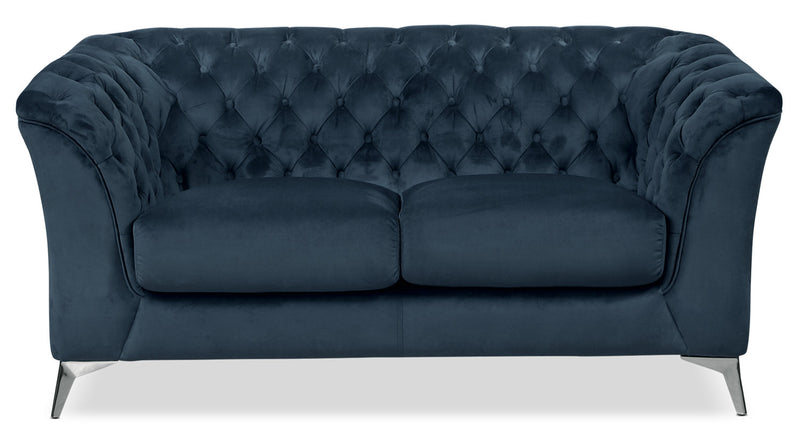 Meredith Velvet Loveseat – Blue|Causeuse Meredith en tissu velours - bleue