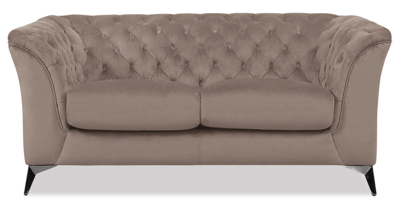 Meredith Velvet Fabric Loveseat – Grey|Causeuse Meredith en tissu velours - grise
