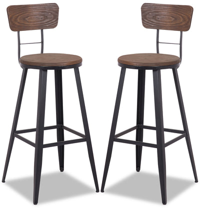 Mica Bar Stool, Set of 2 - {Modern} style Bar Stool in Dark Brown {Metal}