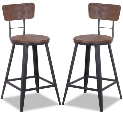 Mica Counter-Height Bar Stool, Set of 2 - {Modern} style Bar Stool in Dark Brown {Metal}