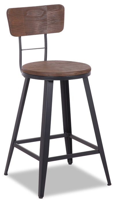 Mica Counter-Height Bar Stool - {Modern} style Bar Stool in Dark Brown {Metal}