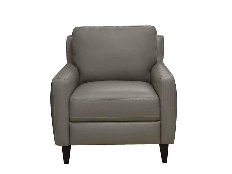 Milas 100% Genuine Leather Chair - Dove|Fauteuil Milas en cuir 100 % véritable - gris tourterelle