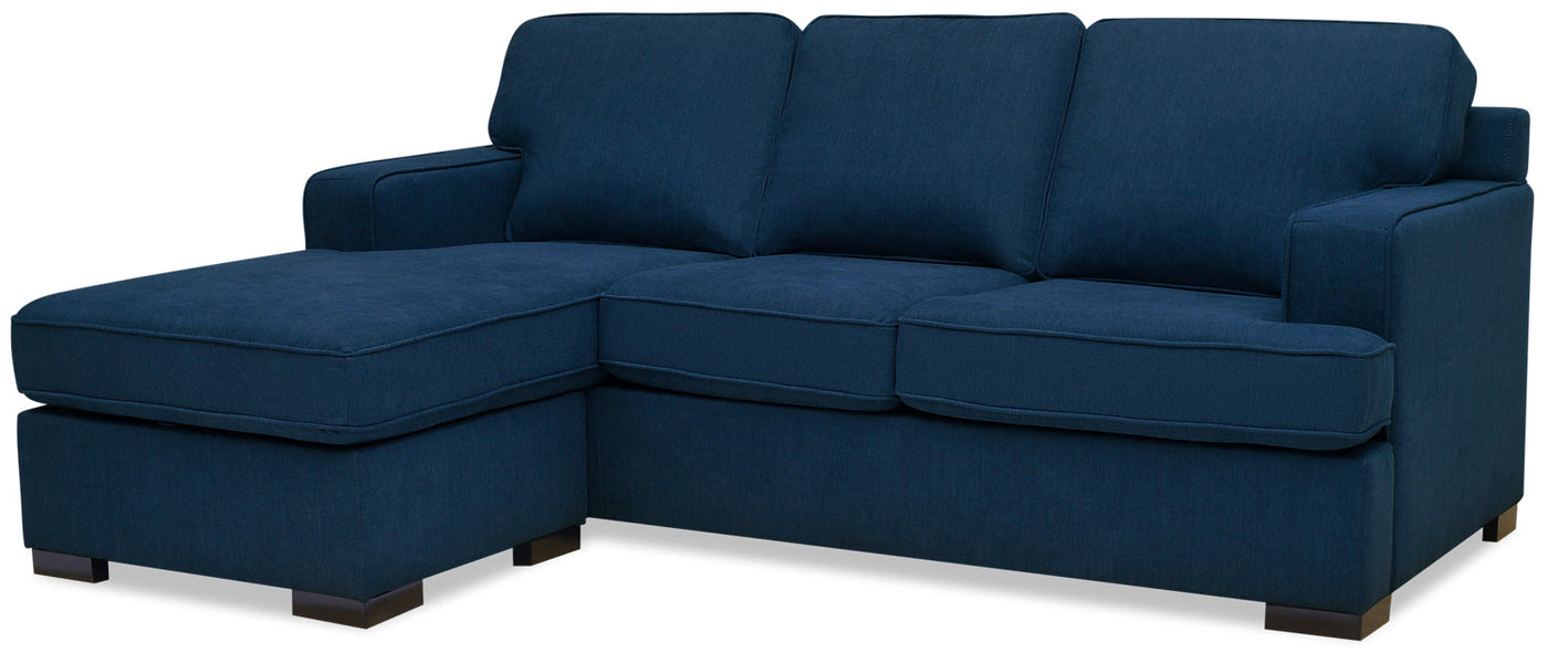 Milo 2 Piece Chenille Reversible Sofa Bed Sectional Blue Sofa
