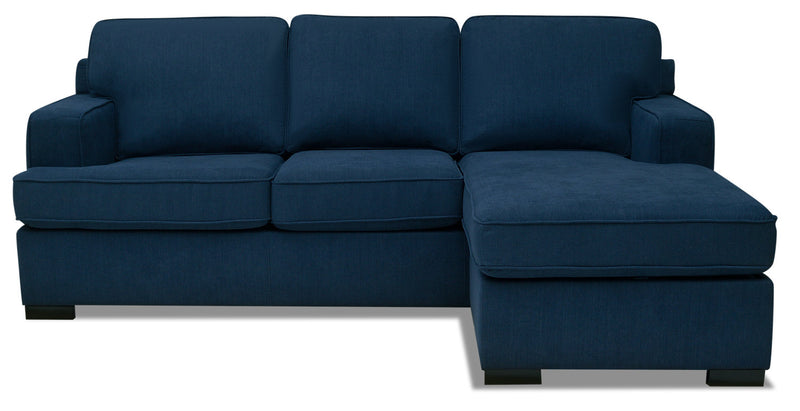 Milo 2 Piece Chenille Reversible Sofa Bed Sectional Blue