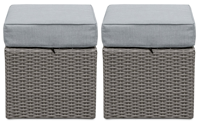 Morris Small Patio Ottoman, Set of 2|Petit pouf Morris pour la terrasse, ensemble de 2