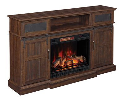 "Munich 68"" TV Stand with Firebox - {Country}, {Traditional} style TV Stand with Fireplace in Saw Cut Espresso"