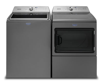Maytag Top-Load 5.4 Cu. Ft. Washer and 7.4 Cu. Ft. Electric Dryer – Grey|Laveuse de 5,4 pi³ et sécheuse électrique de 7,4 pi³ Maytag - grises|MATL765L