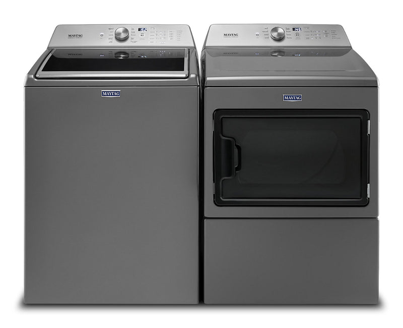 Maytag Top-Load 5.4 Cu. Ft. Washer and 7.4 Cu. Ft. Electric Dryer – Grey|Laveuse de 5,4 pi³ et sécheuse électrique de 7,4 pi³ Maytag - grises