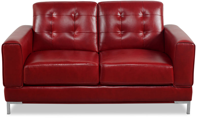 Myer Leather-Like Fabric Loveseat - Red|Causeuse Myer en tissu d'apparence cuir - rouge|MYERRDLV
